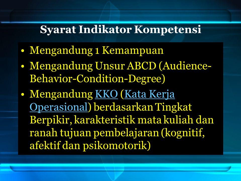 Syarat Indikator Kompetensi Mengandung 1 Kemampuan Mengandung Unsur ABCD (Audience- Behavior-Condition-Degree) Mengandung KKO (Kata Kerja Operasional)