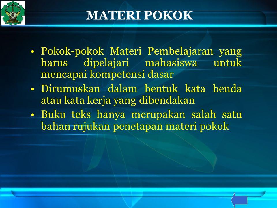 MATERI POKOK Pokok-pokok Materi Pembelajaran yang harus dipelajari mahasiswa untuk mencapai kompetensi dasar Dirumuskan dalam bentuk kata benda atau k