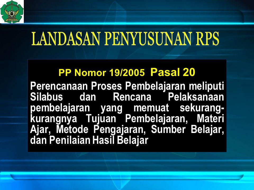 PP Nomor 19/2005 Pasal 20 Perencanaan Proses Pembelajaran meliputi Silabus dan Rencana Pelaksanaan pembelajaran yang memuat sekurang- kurangnya Tujuan