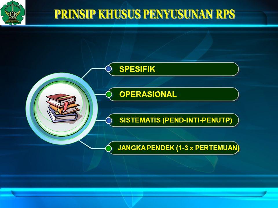 SPESIFIK OPERASIONAL SISTEMATIS (PEND-INTI-PENUTP) JANGKA PENDEK (1-3 x PERTEMUAN)