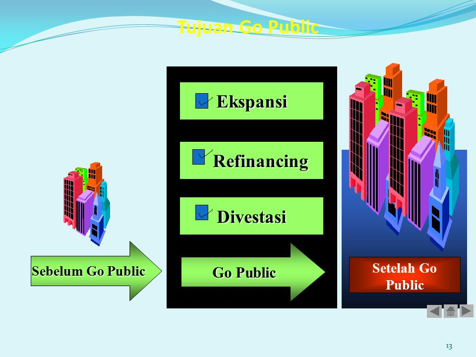 Tujuan Go Public 13 Ekspansi Refinancing Refinancing Divestasi Sebelum Go Public Go Public Setelah Go Public