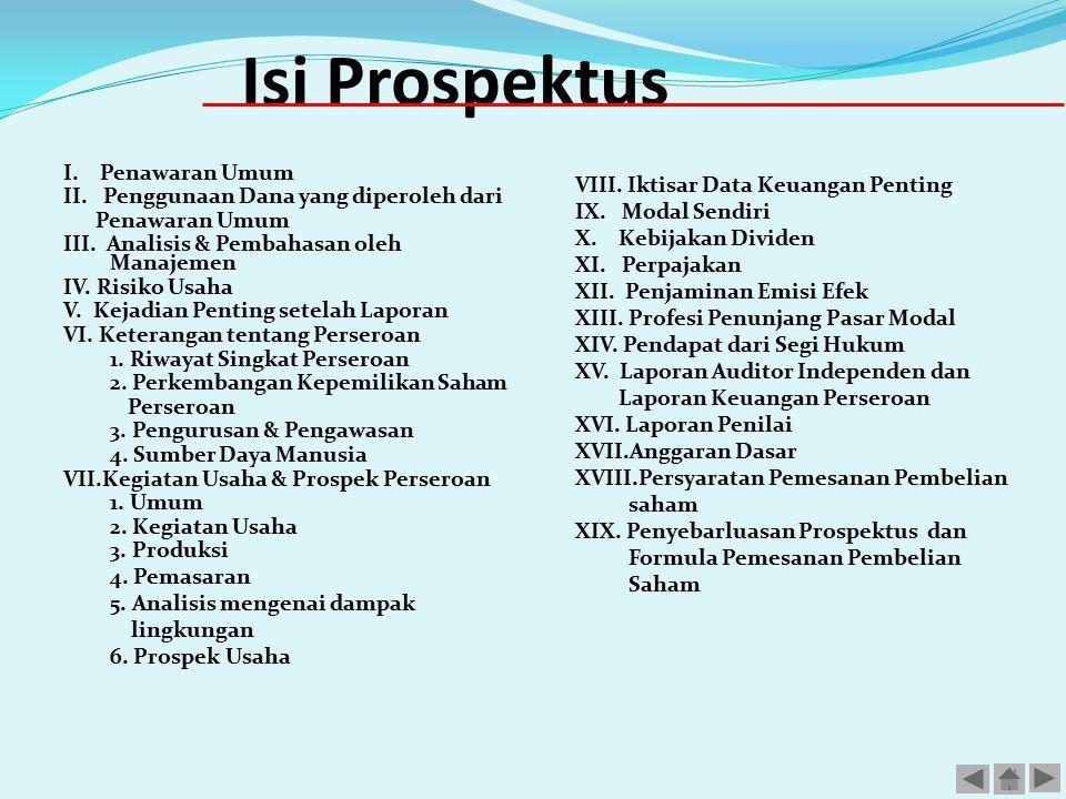 Isi Prospektus I. Penawaran Umum II. Penggunaan Dana yang diperoleh dari Penawaran Umum III. Analisis & Pembahasan oleh Manajemen IV. Risiko Usaha V.