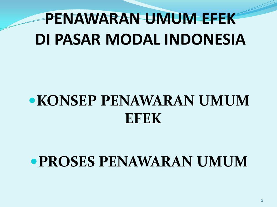 PENAWARAN UMUM (Pasal 1 angka 5 UUPM) adalah kegiatan penawaran Efek yang dilakukan oleh Emiten untuk menjual Efek kepada masyarakat berdasarkan tata cara yang diatur dalam Undang-undang ini dan peraturan pelaksanaannya.