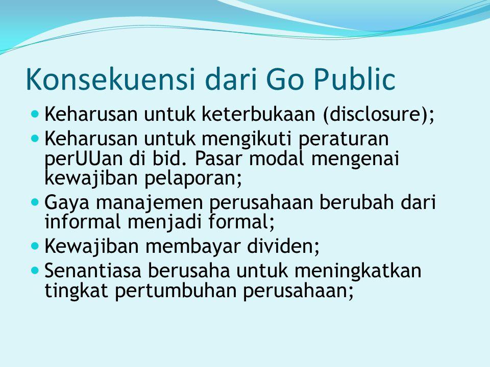 Konsekuensi dari Go Public Keharusan untuk keterbukaan (disclosure); Keharusan untuk mengikuti peraturan perUUan di bid. Pasar modal mengenai kewajiba