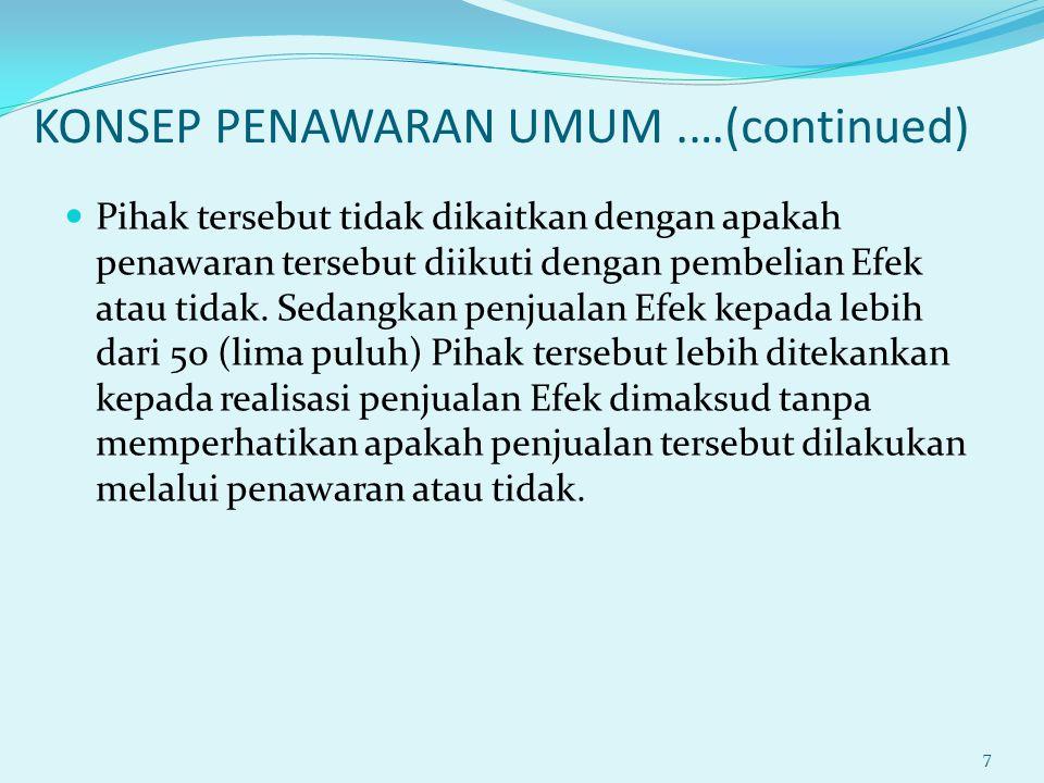 Isi Prospektus I.Penawaran Umum II. Penggunaan Dana yang diperoleh dari Penawaran Umum III.
