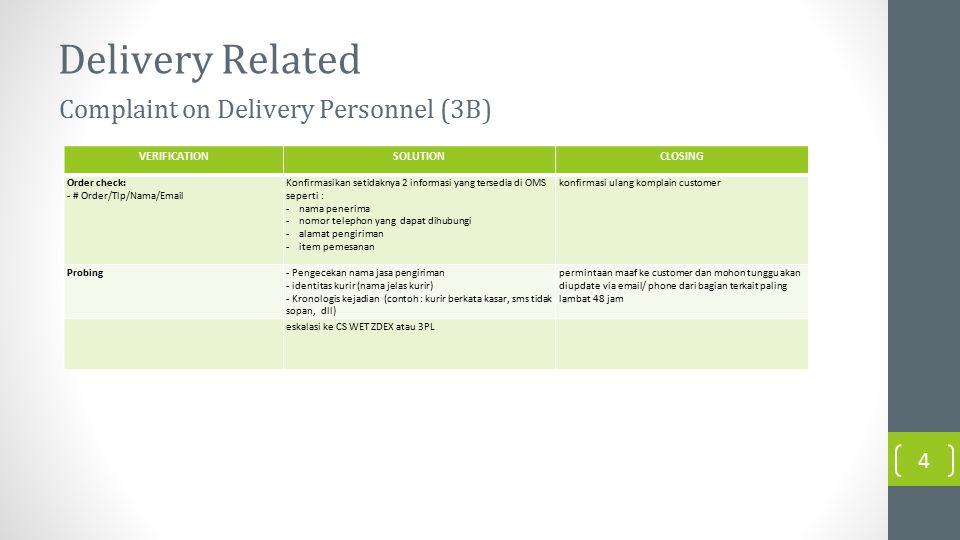 Delivery Related VERIFICATIONSOLUTIONCLOSING Order check: - # Order/Tlp/Nama/Email Konfirmasikan setidaknya 2 informasi yang tersedia di OMS seperti : -nama penerima -nomor telephon yang dapat dihubungi -alamat pengiriman -item pemesanan konfirmasi ulang komplain customer Probing- Pengecekan nama jasa pengiriman - identitas kurir (nama jelas kurir) - Kronologis kejadian (contoh : kurir berkata kasar, sms tidak sopan, dll) permintaan maaf ke customer dan mohon tunggu akan diupdate via email/ phone dari bagian terkait paling lambat 48 jam eskalasi ke CS WET ZDEX atau 3PL Complaint on Delivery Personnel (3B) 4