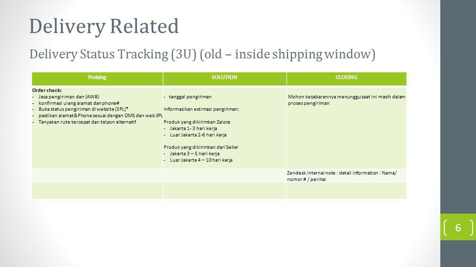 Delivery Related ProbingSOLUTIONCLOSING Order check: -Jasa pengiriman dan (AWB) -konfirmasi ulang alamat dan phone# -Buka status pengiriman di website (3PL)* -pastikan alamat&Phone sesuai dengan OMS dan web 3PL -Tanyakan rute tercepat dan telpon alternatif - tanggal pengiriman Informasikan estimasi pengiriman: Produk yang dikirimkan Zalora -Jakarta 1- 3 hari kerja -Luar Jakarta 2-6 hari kerja Produk yang dikirimkan dari Seller -Jakarta 3 – 5 hari kerja -Luar Jakarta 4 – 10 hari kerja Mohon kesabarannya menunggu saat ini masih dalam proses pengiriman Zendesk internal note : detail information : Nama/ nomor # / perihal Delivery Status Tracking (3U) (old – inside shipping window) 6