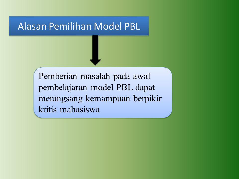 Alasan Pemilihan Model PBL Pemberian masalah pada awal pembelajaran model PBL dapat merangsang kemampuan berpikir kritis mahasiswa
