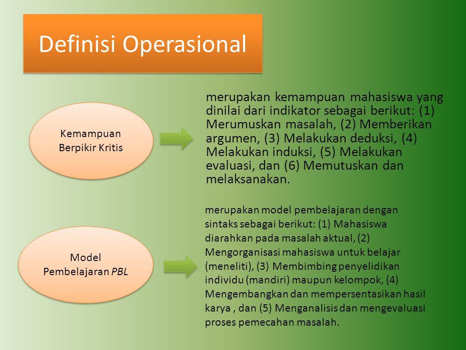 Definisi Operasional Kemampuan Berpikir Kritis Model Pembelajaran PBL merupakan kemampuan mahasiswa yang dinilai dari indikator sebagai berikut: (1) M