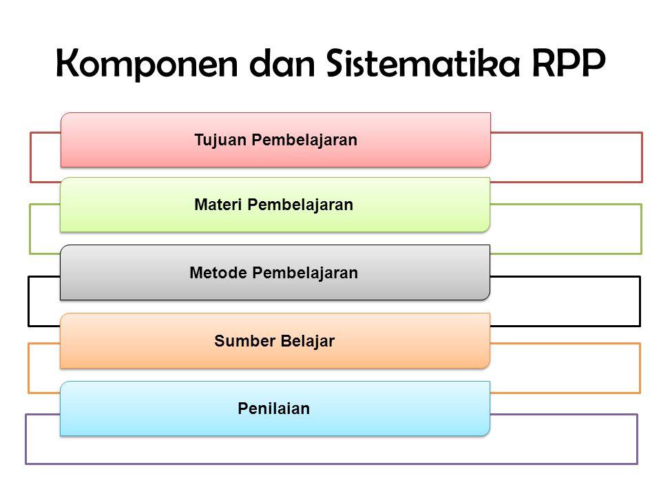 Komponen dan Sistematika RPP Tujuan Pembelajaran Materi Pembelajaran Metode Pembelajaran Sumber Belajar Penilaian