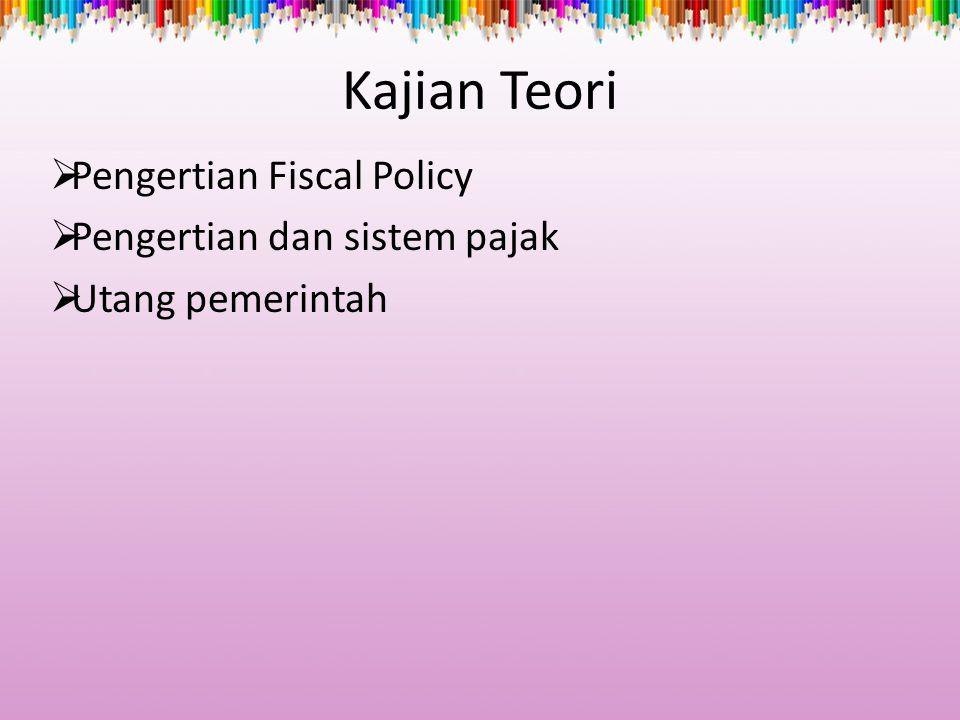 Kajian Teori  Pengertian Fiscal Policy  Pengertian dan sistem pajak  Utang pemerintah