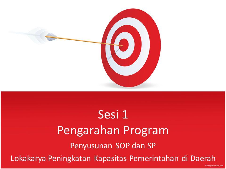 Sesi 1 Pengarahan Program Penyusunan SOP dan SP Lokakarya Peningkatan Kapasitas Pemerintahan di Daerah