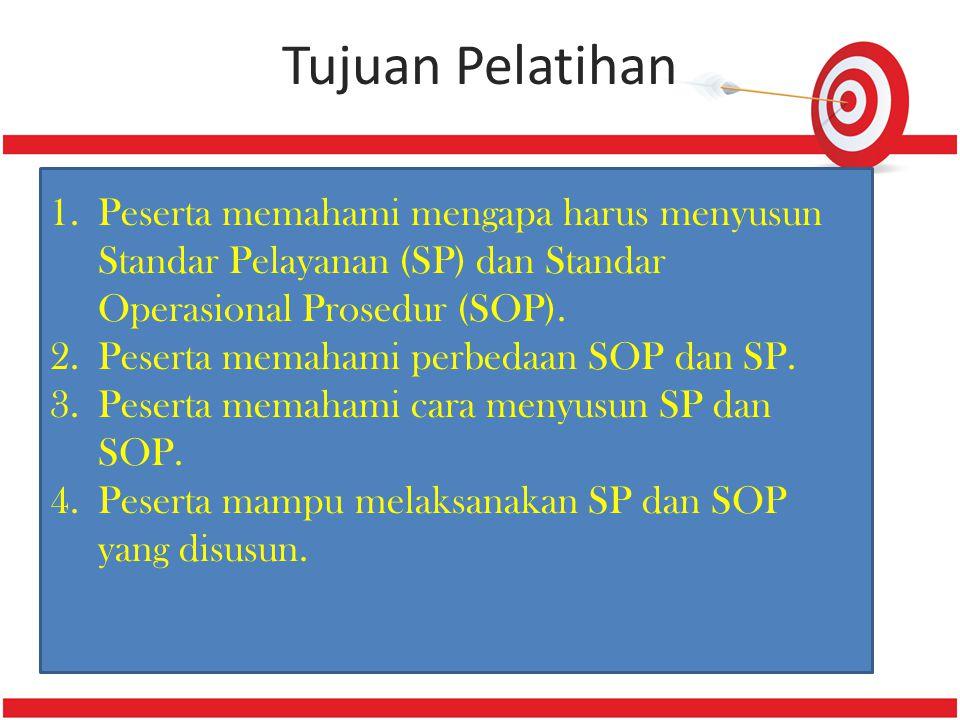 Tujuan Pelatihan 1.Peserta memahami mengapa harus menyusun Standar Pelayanan (SP) dan Standar Operasional Prosedur (SOP). 2.Peserta memahami perbedaan