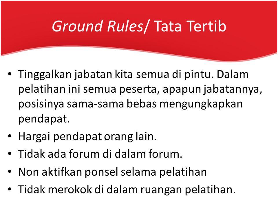 Ground Rules/ Tata Tertib Tinggalkan jabatan kita semua di pintu. Dalam pelatihan ini semua peserta, apapun jabatannya, posisinya sama-sama bebas meng