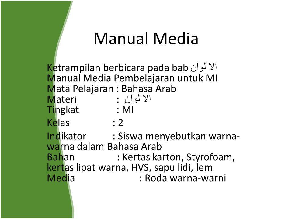 Manual Media Ketrampilan berbicara pada bab الا لوان Manual Media Pembelajaran untuk MI Mata Pelajaran : Bahasa Arab Materi : الا لوان Tingkat : MI Ke