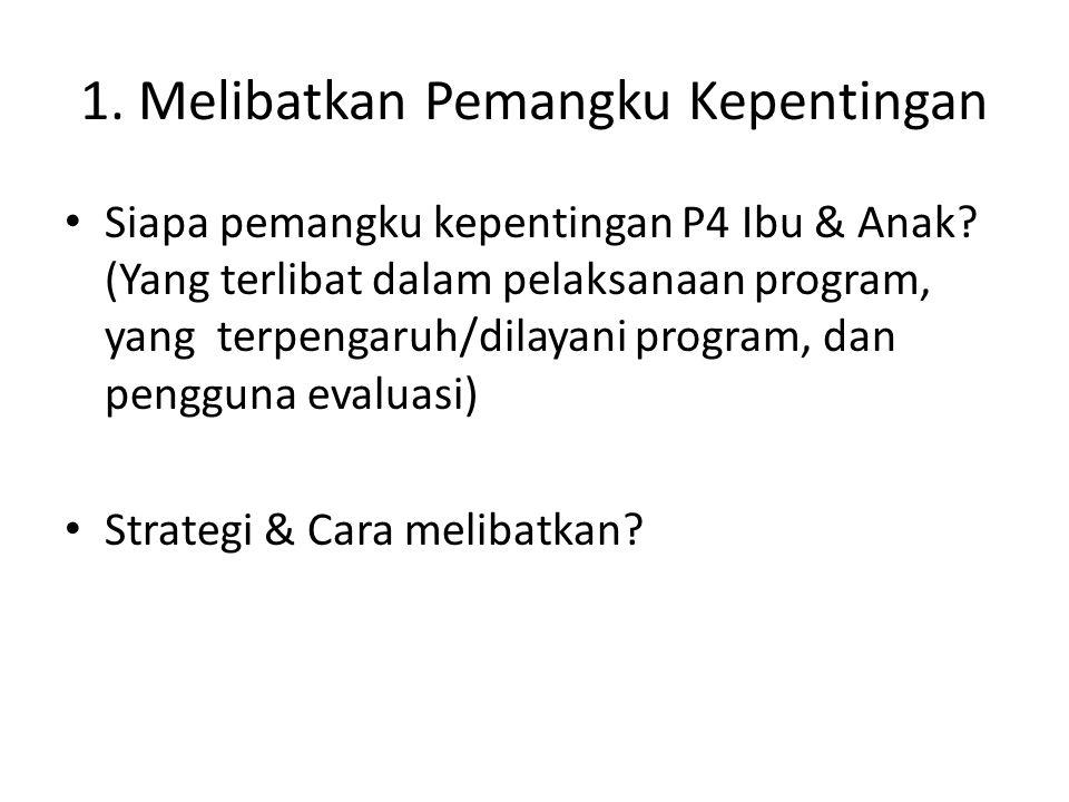 1. Melibatkan Pemangku Kepentingan Siapa pemangku kepentingan P4 Ibu & Anak? (Yang terlibat dalam pelaksanaan program, yang terpengaruh/dilayani progr