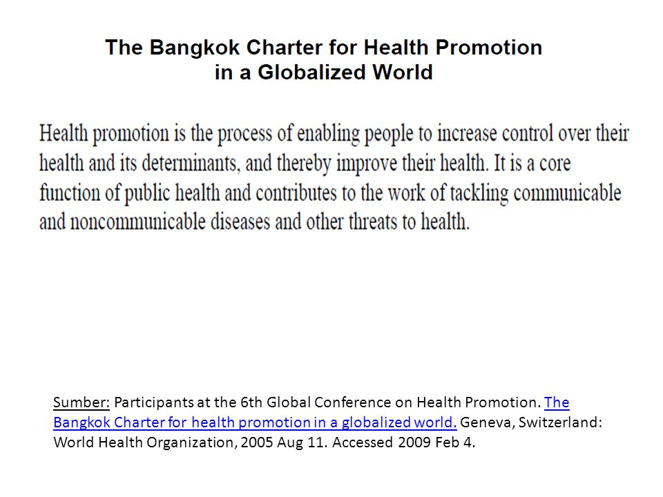 Sumber: Participants at the 6th Global Conference on Health Promotion. The Bangkok Charter for health promotion in a globalized world. Geneva, Switzer