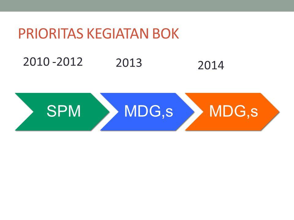 PRIORITAS KEGIATAN BOK SPMMDG,s 2010 -2012 2013 2014