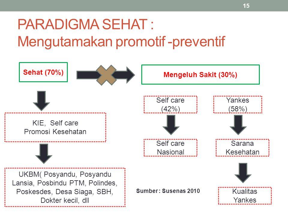 Sumber : Susenas 2010 PARADIGMA SEHAT : Mengutamakan promotif -preventif 15 Sehat (70%) Mengeluh Sakit (30%) KIE, Self care Promosi Kesehatan Self car
