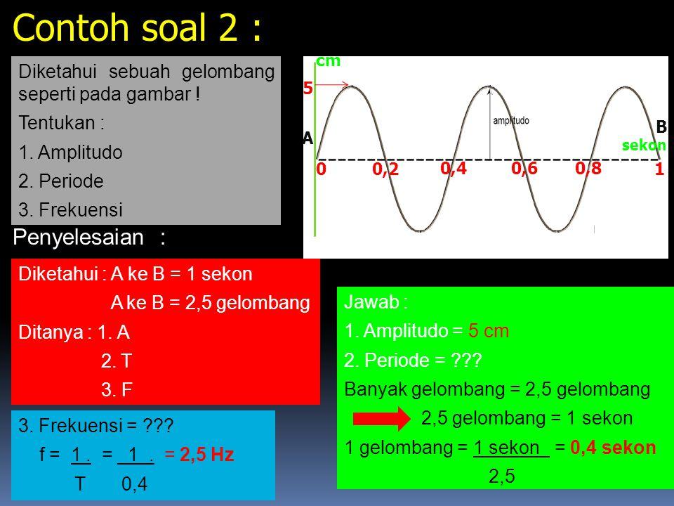 Perhatikan gambar gelombang longitudinal dibawah ini ! A B C DEF G Rapat renggang 1 Gelombang memiliki 1 rapat dan 1 renggang 1 Gelombang : A - C atau