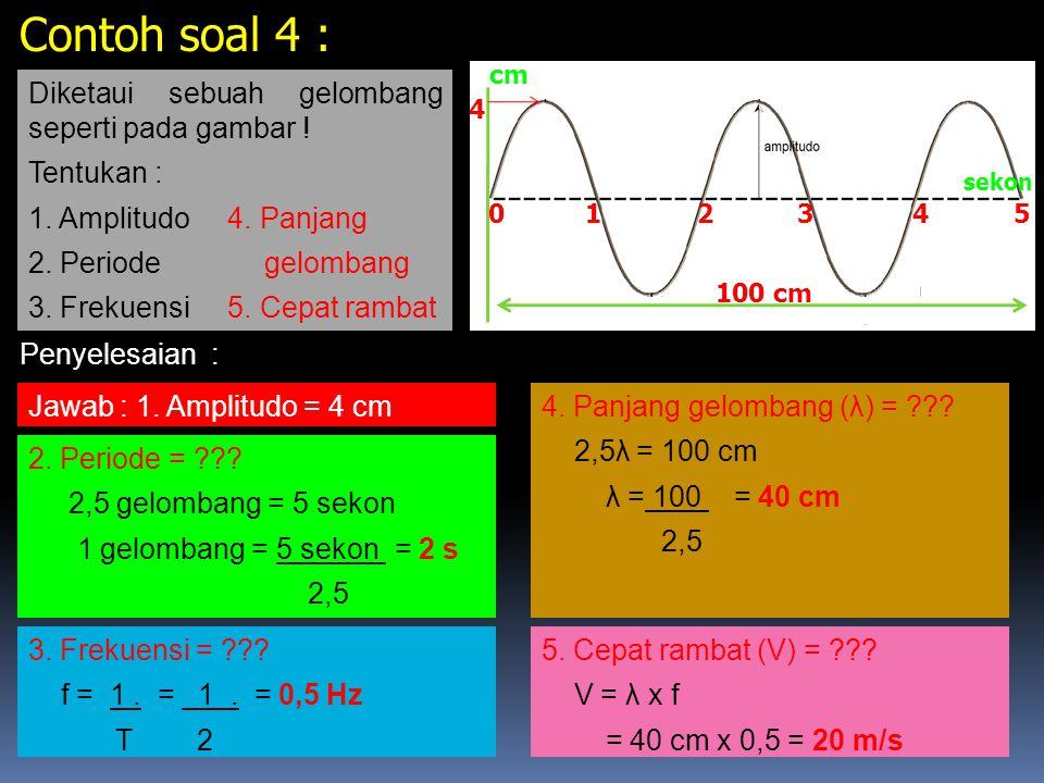 Adalah Jarak yang ditempuh gelombang persatuan waktu. CEPAT RAMBAT GELOMBANG V Rumus V = λ. T atau V = λ x f VariabelKeteranganSatuan V Cepat rambat g