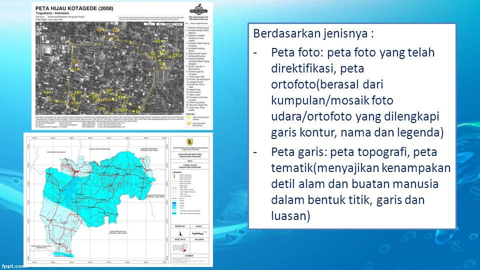 Berdasarkan jenisnya : -Peta foto: peta foto yang telah direktifikasi, peta ortofoto(berasal dari kumpulan/mosaik foto udara/ortofoto yang dilengkapi