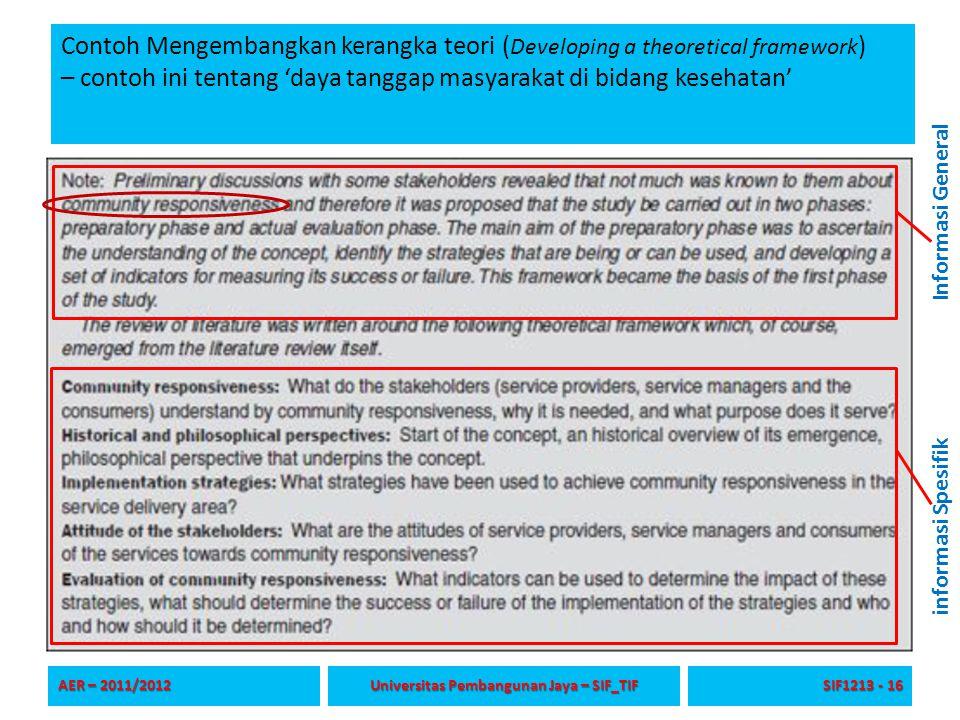 Contoh Mengembangkan kerangka teori ( Developing a theoretical framework ) – contoh ini tentang 'daya tanggap masyarakat di bidang kesehatan' AER – 20