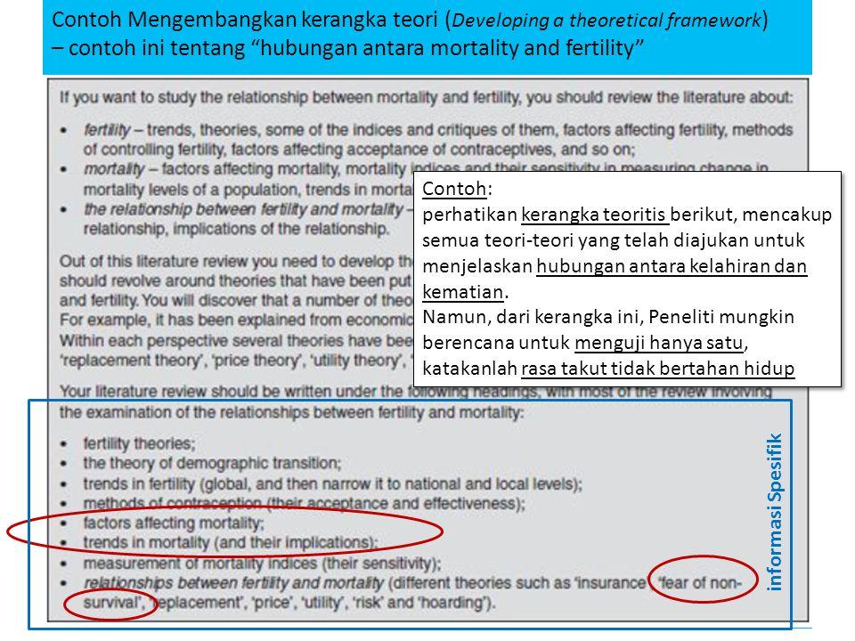 "Contoh Mengembangkan kerangka teori ( Developing a theoretical framework ) – contoh ini tentang ""hubungan antara mortality and fertility"" AER – 2011/2"