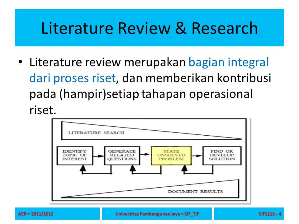 Literature Review & Research Literature review merupakan bagian integral dari proses riset, dan memberikan kontribusi pada (hampir)setiap tahapan oper