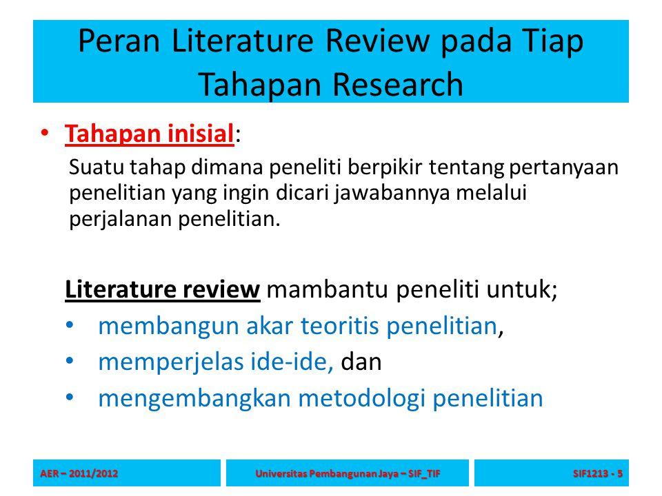 Peran Literature Review pada Tiap Tahapan Research Tahapan inisial: Suatu tahap dimana peneliti berpikir tentang pertanyaan penelitian yang ingin dica
