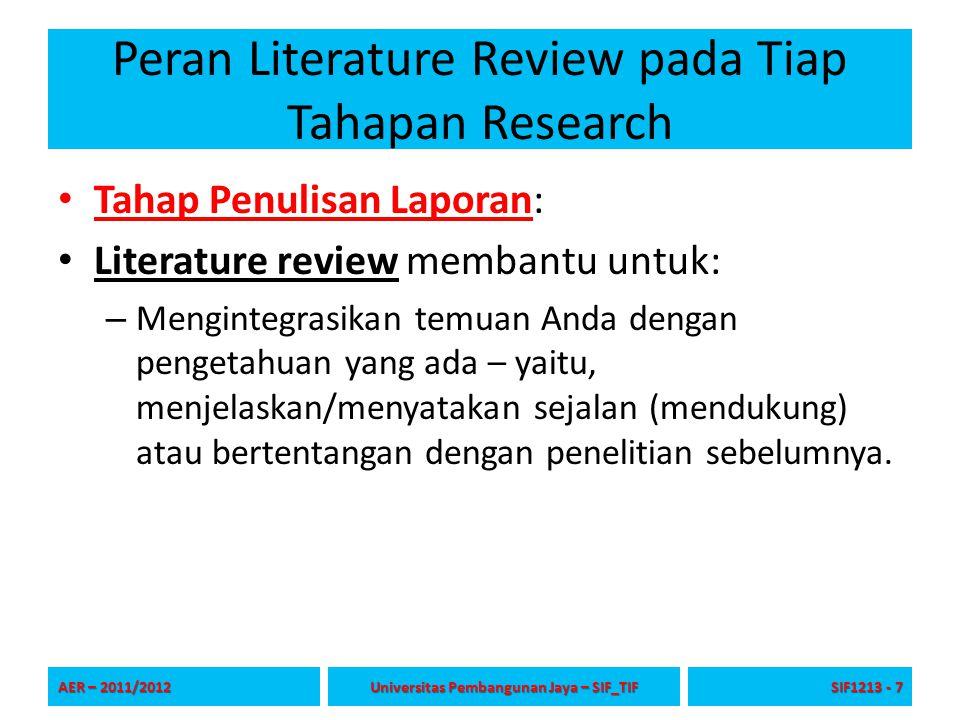 Peran Literature Review pada Tiap Tahapan Research Tahap Penulisan Laporan: Literature review membantu untuk: – Mengintegrasikan temuan Anda dengan pe