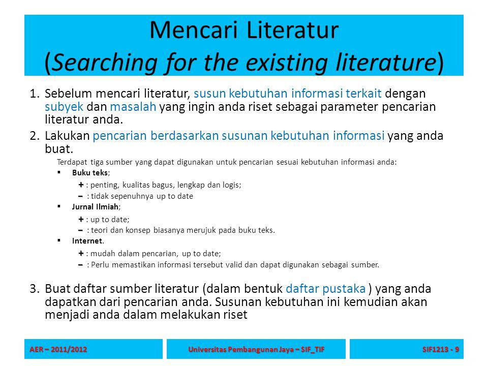 Mencari Literatur (Searching for the existing literature) 1.Sebelum mencari literatur, susun kebutuhan informasi terkait dengan subyek dan masalah yan