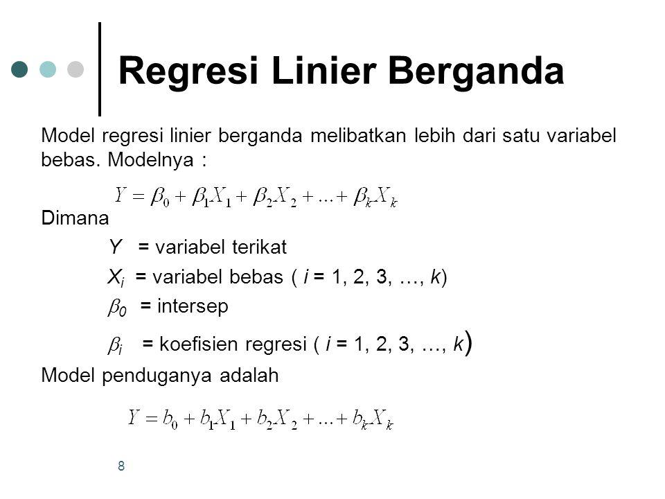 8 Regresi Linier Berganda Model regresi linier berganda melibatkan lebih dari satu variabel bebas.