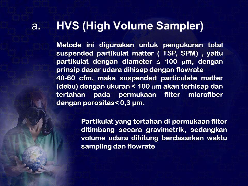 a. HVS (High Volume Sampler) Metode ini digunakan untuk pengukuran total suspended partikulat matter ( TSP, SPM), yaitu partikulat dengan diameter ≤ 1