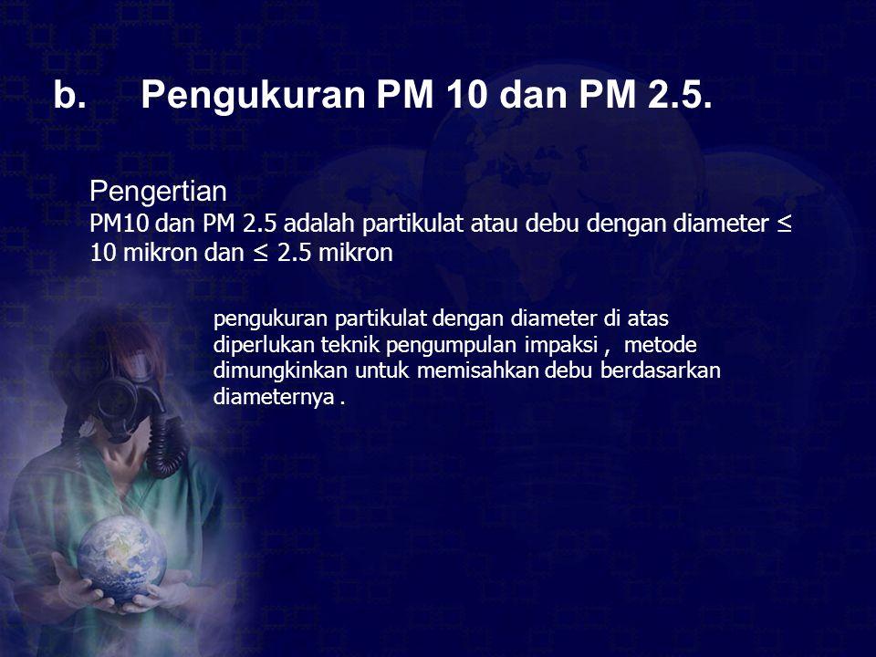 b. Pengukuran PM 10 dan PM 2.5. Pengertian PM10 dan PM 2.5 adalah partikulat atau debu dengan diameter ≤ 10 mikron dan ≤ 2.5 mikron pengukuran partiku