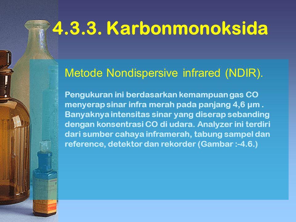4.3.3. Karbonmonoksida Metode Nondispersive infrared (NDIR). Pengukuran ini berdasarkan kemampuan gas CO menyerap sinar infra merah pada panjang 4,6 µ