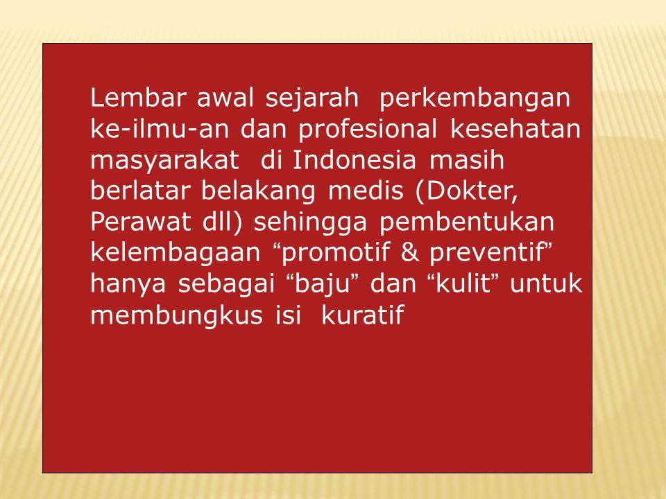 Lembar awal sejarah perkembangan ke-ilmu-an dan profesional kesehatan masyarakat di Indonesia masih berlatar belakang medis (Dokter, Perawat dll) sehingga pembentukan kelembagaan promotif & preventif hanya sebagai baju dan kulit untuk membungkus isi kuratif