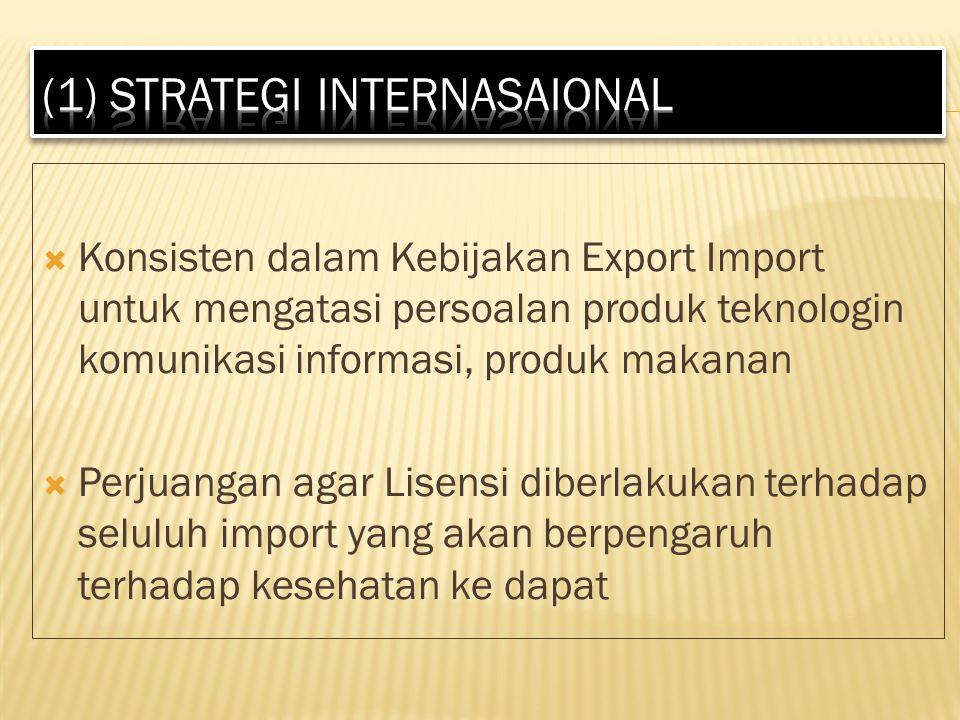  Konsisten dalam Kebijakan Export Import untuk mengatasi persoalan produk teknologin komunikasi informasi, produk makanan  Perjuangan agar Lisensi diberlakukan terhadap seluluh import yang akan berpengaruh terhadap kesehatan ke dapat