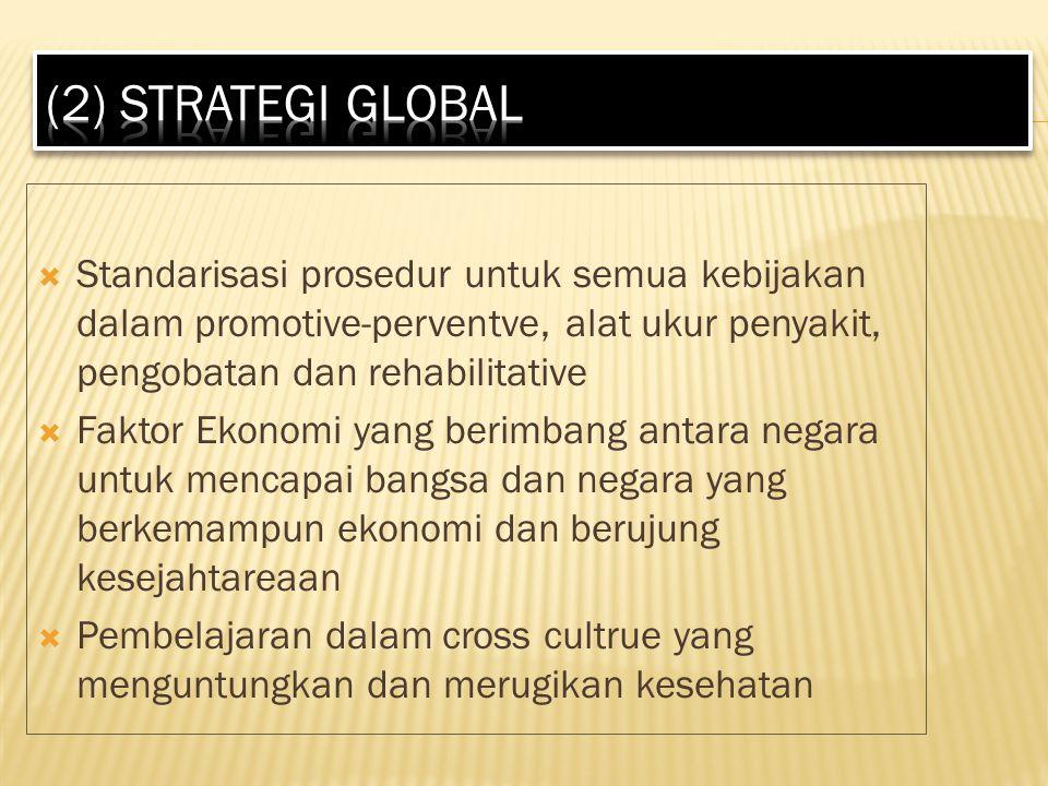  Standarisasi prosedur untuk semua kebijakan dalam promotive-perventve, alat ukur penyakit, pengobatan dan rehabilitative  Faktor Ekonomi yang berimbang antara negara untuk mencapai bangsa dan negara yang berkemampun ekonomi dan berujung kesejahtareaan  Pembelajaran dalam cross cultrue yang menguntungkan dan merugikan kesehatan