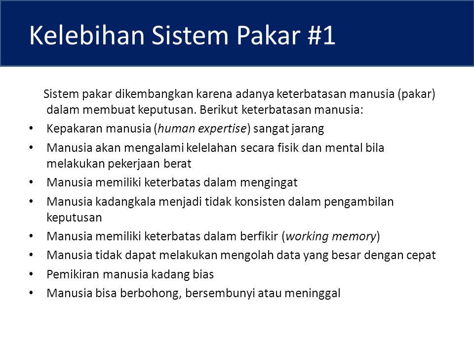 Kelebihan Sistem Pakar #1 Sistem pakar dikembangkan karena adanya keterbatasan manusia (pakar) dalam membuat keputusan.