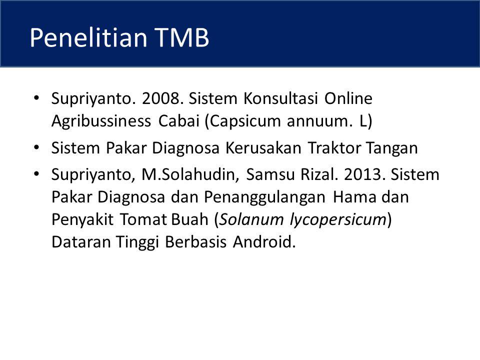 Penelitian TMB Supriyanto.2008. Sistem Konsultasi Online Agribussiness Cabai (Capsicum annuum.