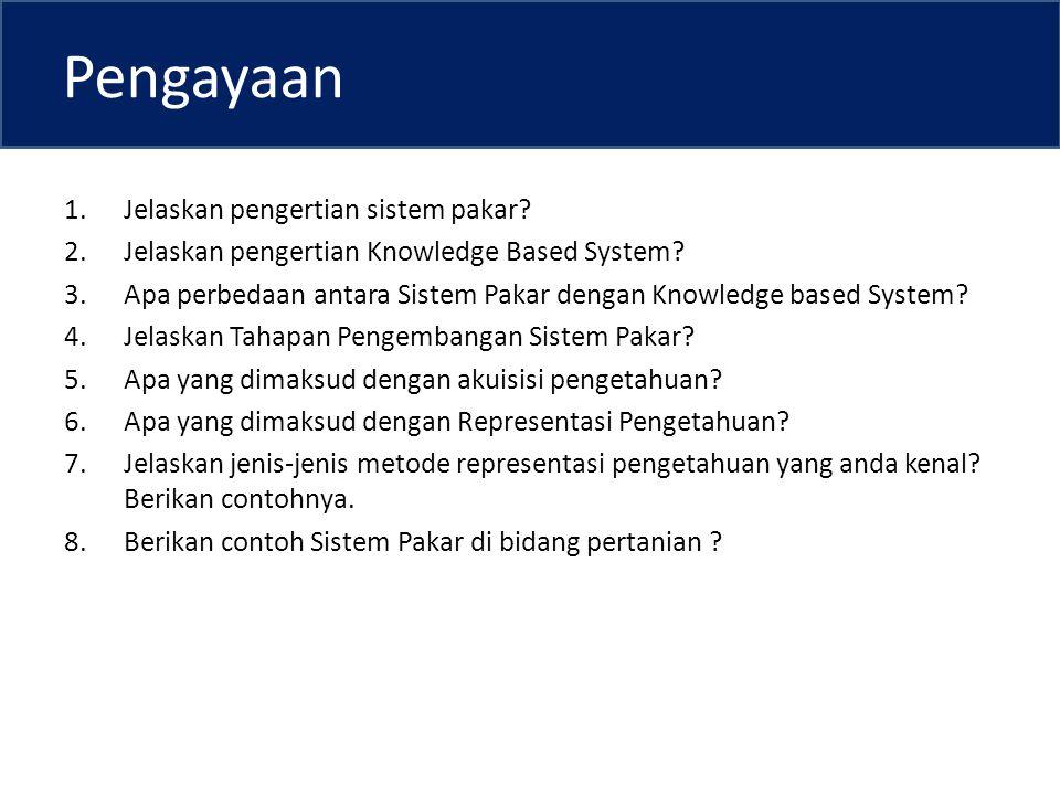 Pengayaan 1.Jelaskan pengertian sistem pakar.2.Jelaskan pengertian Knowledge Based System.