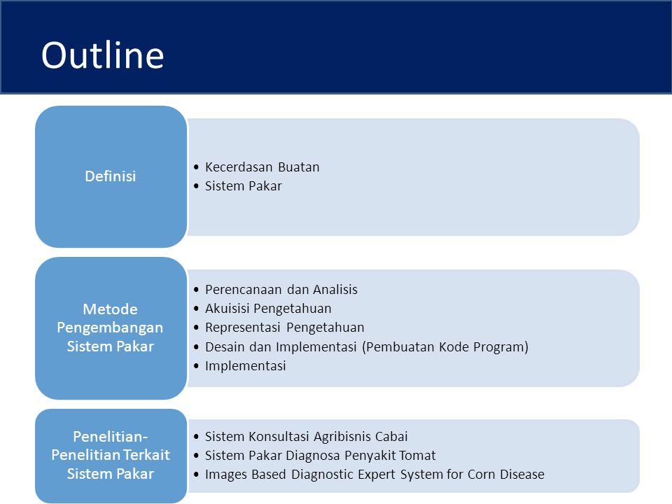 Outline Kecerdasan Buatan Sistem Pakar Definisi Perencanaan dan Analisis Akuisisi Pengetahuan Representasi Pengetahuan Desain dan Implementasi (Pembuatan Kode Program) Implementasi Metode Pengembangan Sistem Pakar Sistem Konsultasi Agribisnis Cabai Sistem Pakar Diagnosa Penyakit Tomat Images Based Diagnostic Expert System for Corn Disease Penelitian- Penelitian Terkait Sistem Pakar