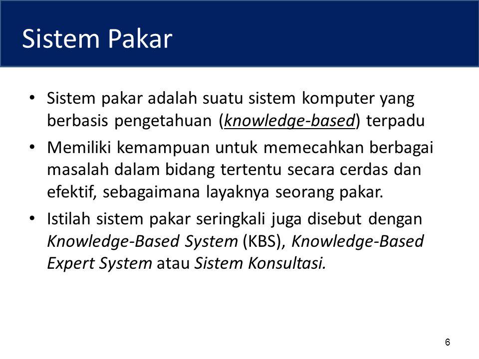 Sistem Pakar Sistem pakar adalah suatu sistem komputer yang berbasis pengetahuan (knowledge-based) terpadu Memiliki kemampuan untuk memecahkan berbagai masalah dalam bidang tertentu secara cerdas dan efektif, sebagaimana layaknya seorang pakar.