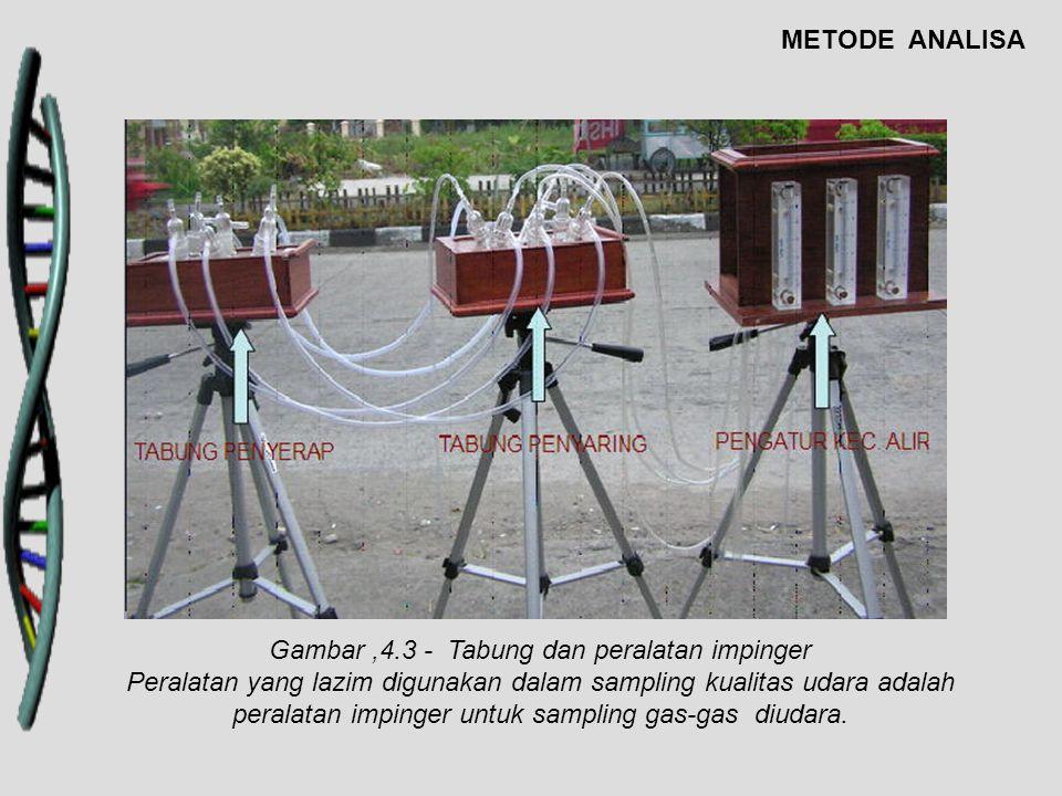 Gambar,4.3 - Tabung dan peralatan impinger Peralatan yang lazim digunakan dalam sampling kualitas udara adalah peralatan impinger untuk sampling gas-g
