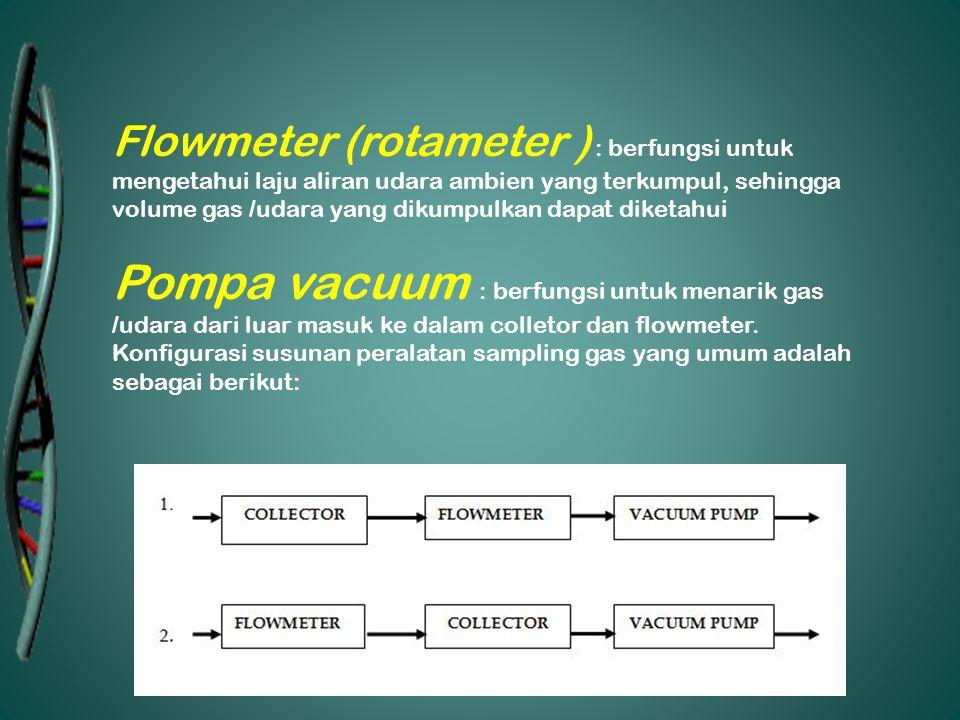 Flowmeter (rotameter ) : berfungsi untuk mengetahui laju aliran udara ambien yang terkumpul, sehingga volume gas /udara yang dikumpulkan dapat diketah