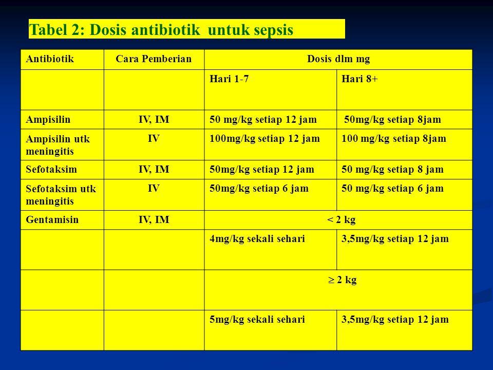 Tabel 2: Dosis antibiotik untuk sepsis AntibiotikCara PemberianDosis dlm mg Hari 1-7Hari 8+ AmpisilinIV, IM50 mg/kg setiap 12 jam 50mg/kg setiap 8jam