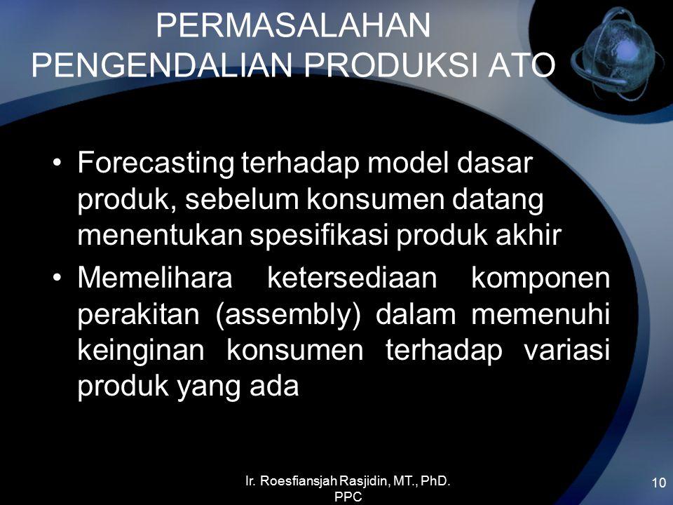 PERMASALAHAN PENGENDALIAN PRODUKSI ATO Forecasting terhadap model dasar produk, sebelum konsumen datang menentukan spesifikasi produk akhir Memelihara ketersediaan komponen perakitan (assembly) dalam memenuhi keinginan konsumen terhadap variasi produk yang ada 10 Ir.