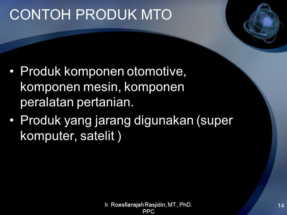 CONTOH PRODUK MTO Produk komponen otomotive, komponen mesin, komponen peralatan pertanian. Produk yang jarang digunakan (super komputer, satelit ) 14