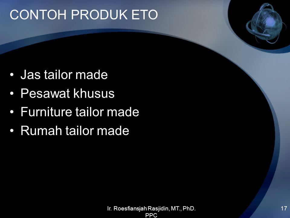 CONTOH PRODUK ETO Jas tailor made Pesawat khusus Furniture tailor made Rumah tailor made Ir. Roesfiansjah Rasjidin, MT., PhD. PPC 17